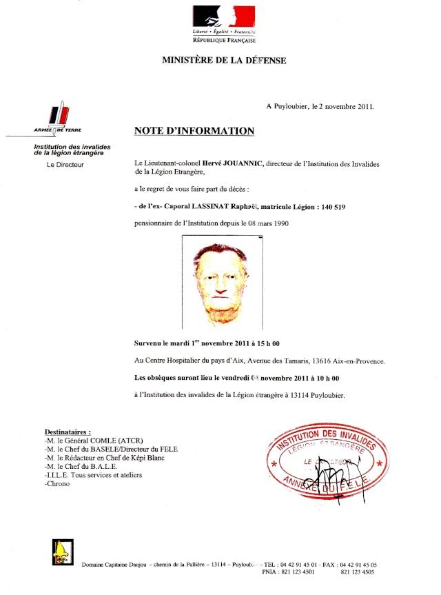 DECES de L'Ex Caporal LASSINAT Matricule 140519 Numari12