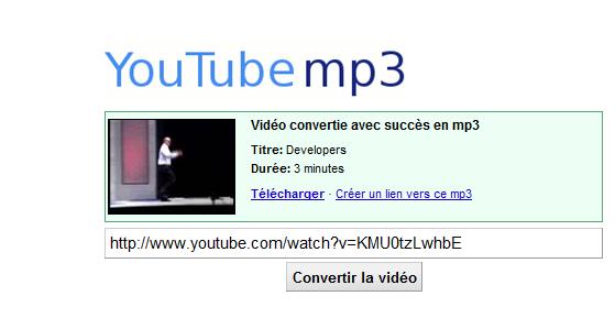 CONVERTIR UNE VIDEO YOU TUBE EN MP3 S310