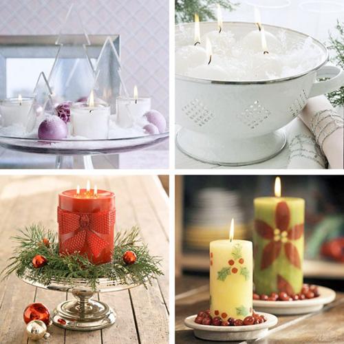 Bàn ăn Giáng sinh lung linh ánh nến Nen10