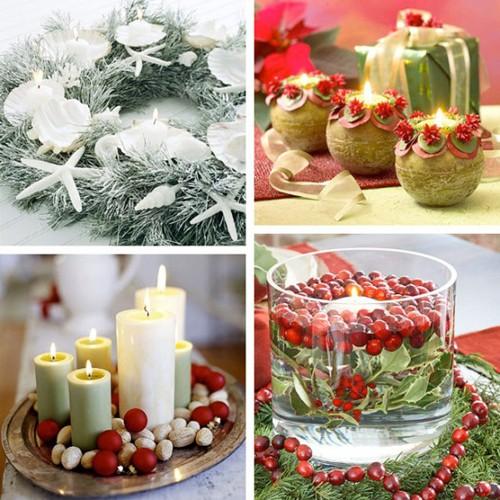 Bàn ăn Giáng sinh lung linh ánh nến Nen510