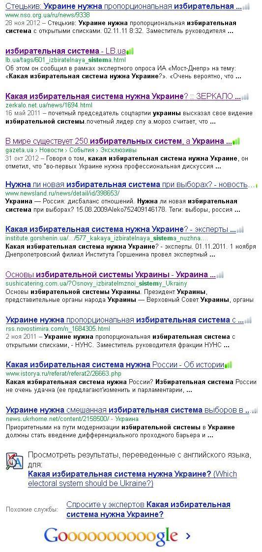 Выборы в Украине  2012 в свете выборов  2006 года. Sistem12