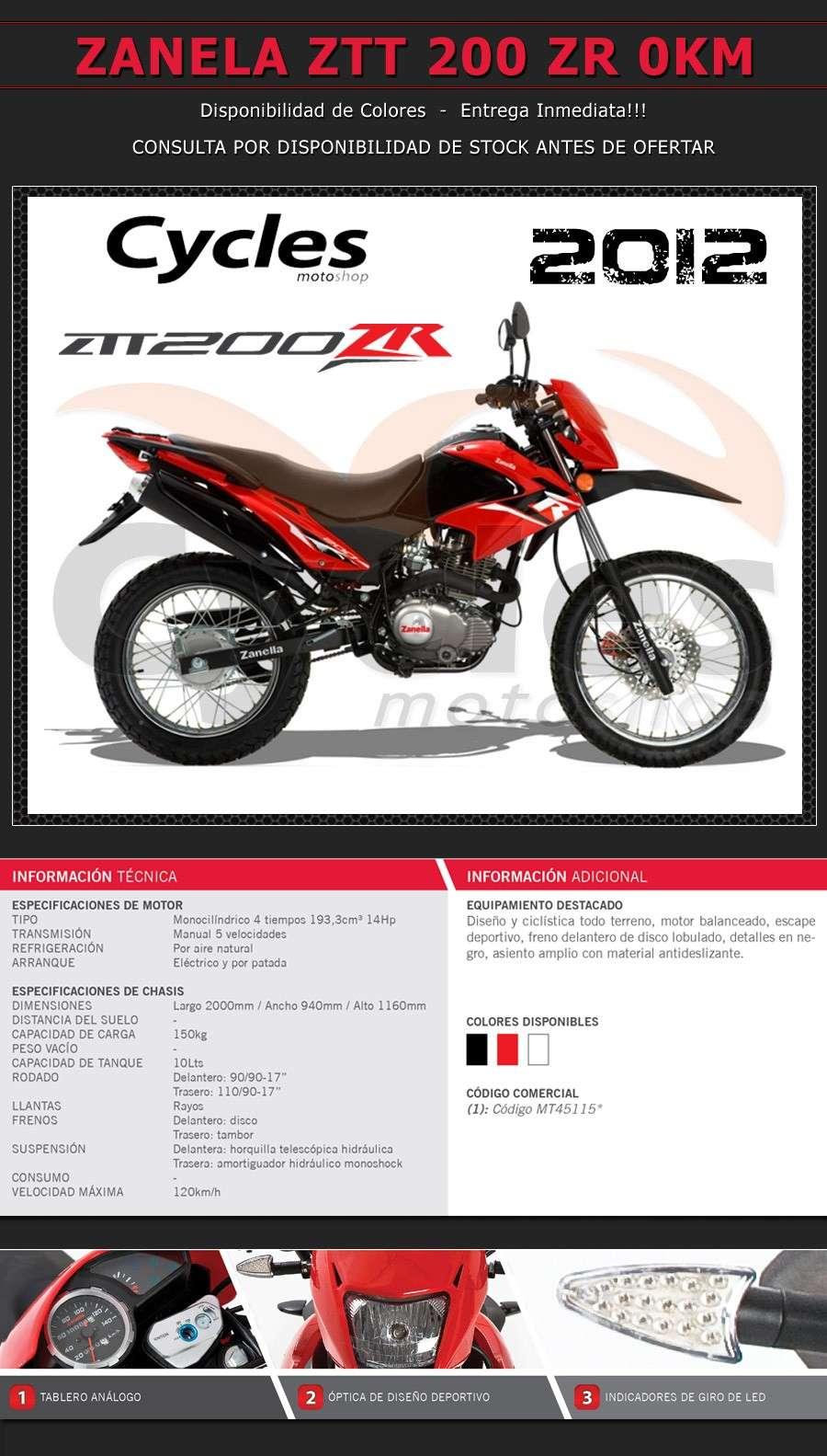 Nueva Moto Zanella ZTT 200 2012 Zanell10