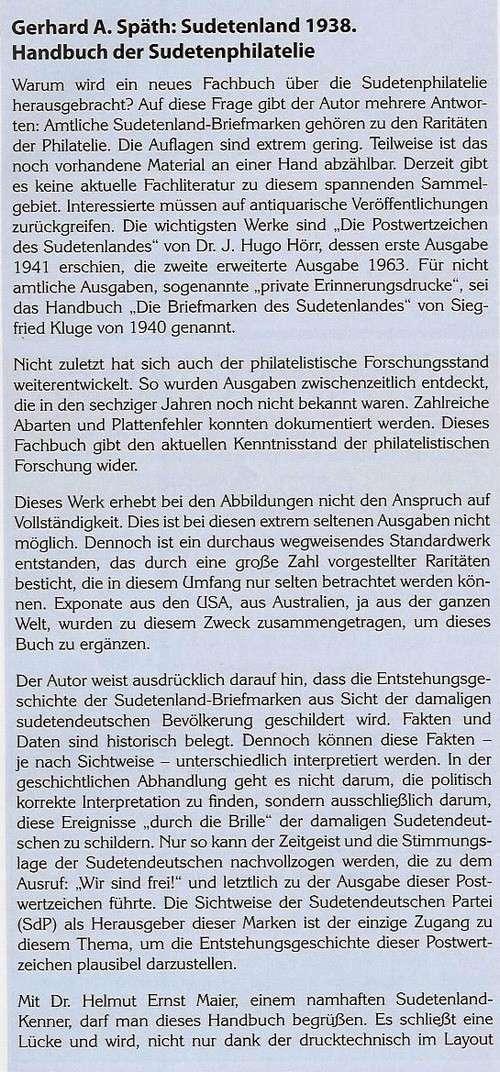 Sudetenland 1938 -Handbuch der Sudetenphilatelie- Phila414