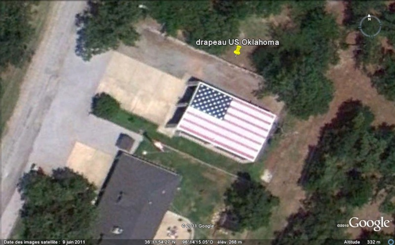 Drapeau US sur toiture - Prue - Oklahoma - USA Ge_dra10
