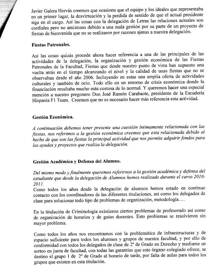 Memoria de la delegación de alumnos 2010/2011, con informe económico incluido (comentada en el Cuartel de Espartaco) Dele210