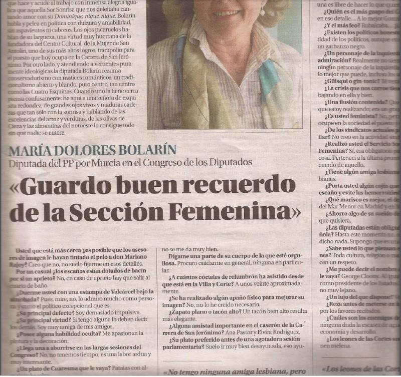 """Nuevas perlas de la diputada que se fotografió con la foto de Primo de Rivera y Franco: """"guardo un buen recuerdo de la sección femenina (...) no creo en la actividad sindical ACTUAL"""" Fala10"""
