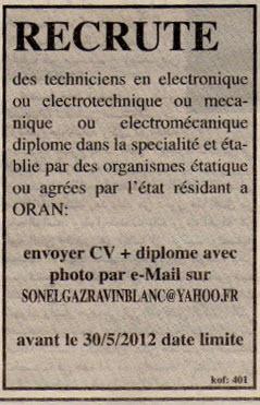 اعلان توظيف في سونالغاز Sonelgaz بولاية وهران ماي 2012 125