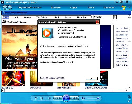 احدث نسخه من عملاق المشغلات Windows Media Player 12 Beta 1 5o78cz10