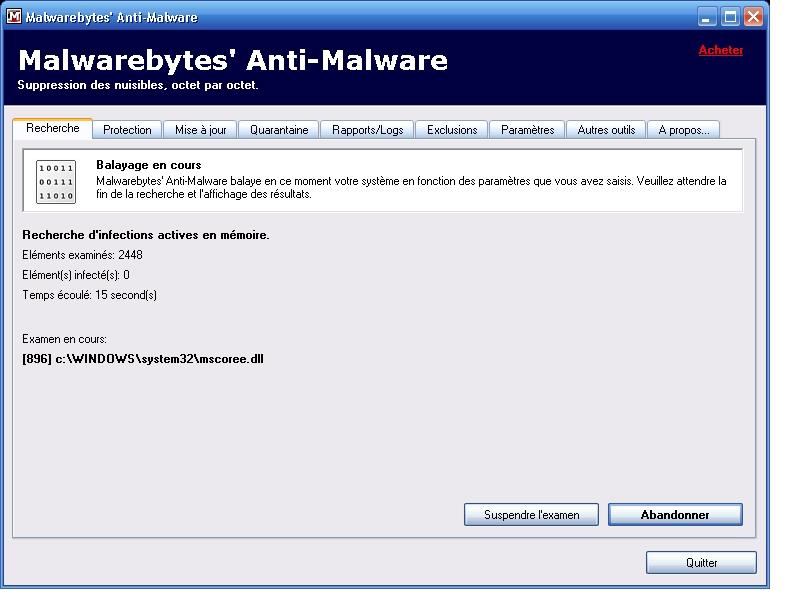Supprimer les programmes dangereux de votre PC Scan_e10