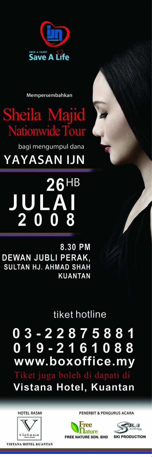 Sheila Majid Concert in aid of IJN Foundation, Kuantan 26/7 Flyers10