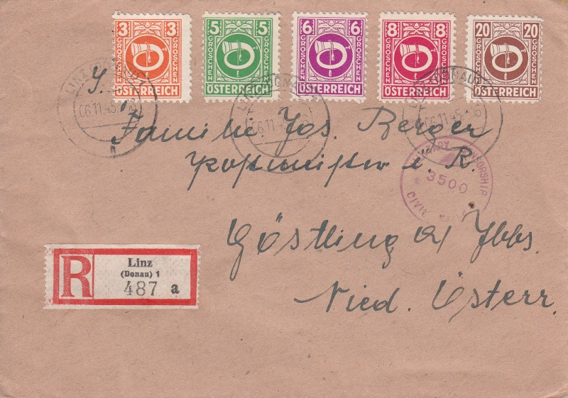 Posthornzeichnung  -  ANK 697-713  -  Belege Img_0011