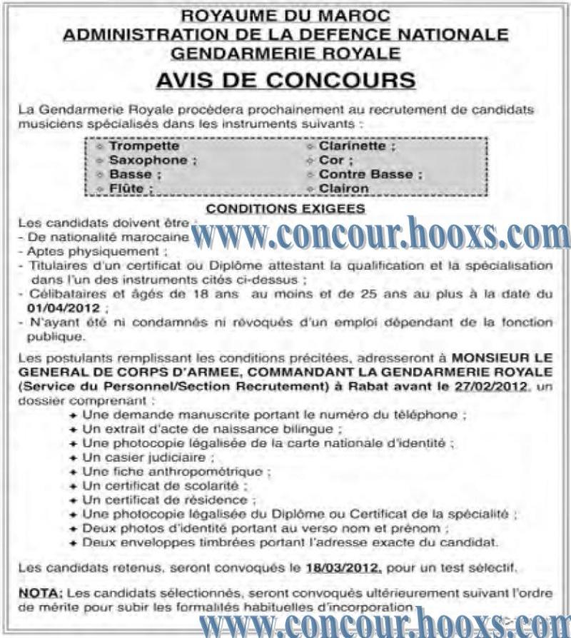 La Gendarmerie Royale : recrutement de candidats musi-ciens spécialisés dans les instruments avant 27 fevrier 2012 Conco102