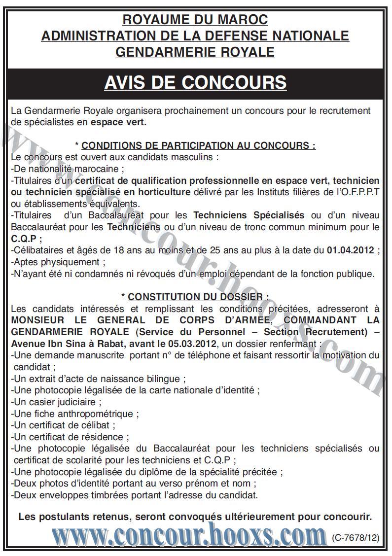 La Gendarmerie Royale : un concours pour le recrutement de spécialistes en espace vert avant le 05/03/2012 Conco104