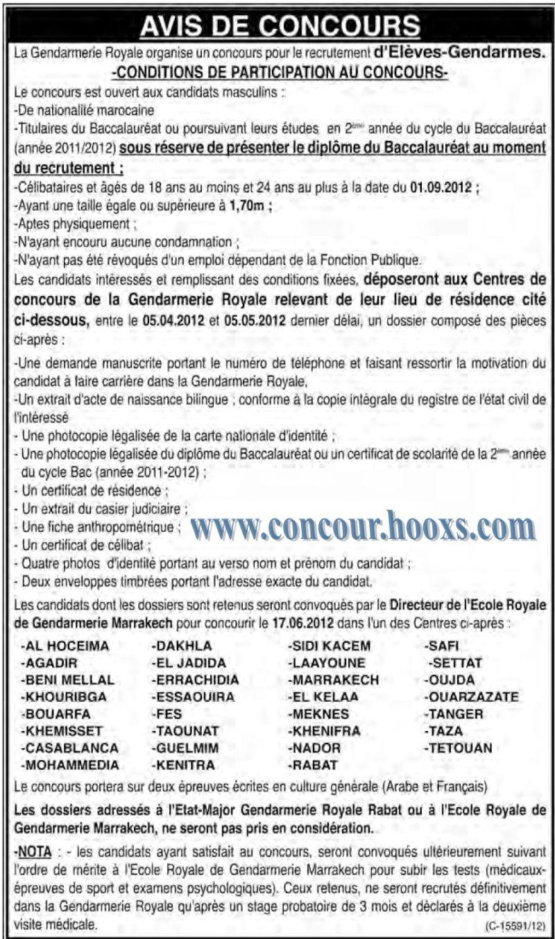 La Gendarmerie Royale organise un concours pour le recrutement d'Elèves-Gendarmes avant 2012/05/05 Conco108
