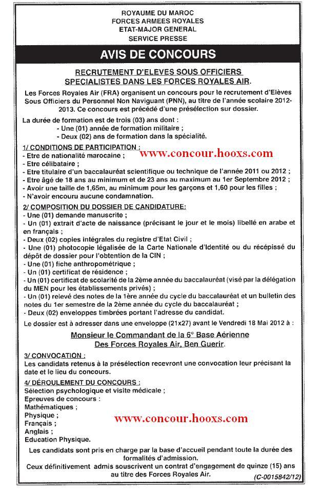 FAR : CONCOURS - ELEVES OFFIC PILOTES & SOUS OFFICIERS SPECIALISTES & SOUS OFFIC FUSILIER COMMANDO & PRE ANNEE DU BAC SCI MATH & INGE D'ETA & LAUREATS DES ISTA AVANT LE 18 MAI 2012 Conco111