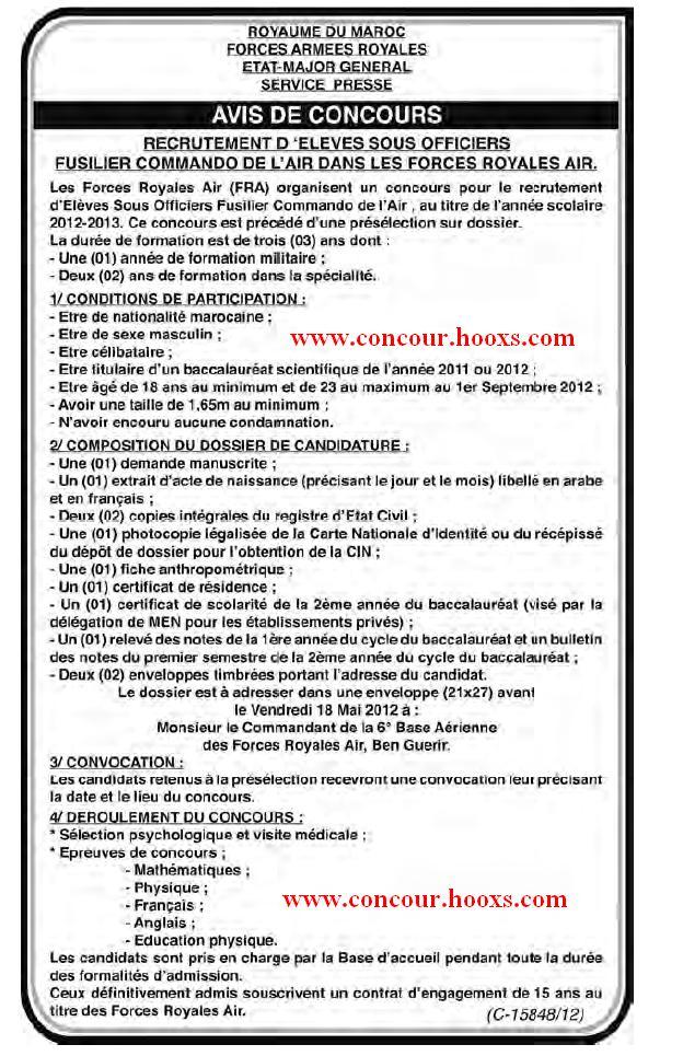 FAR : CONCOURS - ELEVES OFFIC PILOTES & SOUS OFFICIERS SPECIALISTES & SOUS OFFIC FUSILIER COMMANDO & PRE ANNEE DU BAC SCI MATH & INGE D'ETA & LAUREATS DES ISTA AVANT LE 18 MAI 2012 Conco112