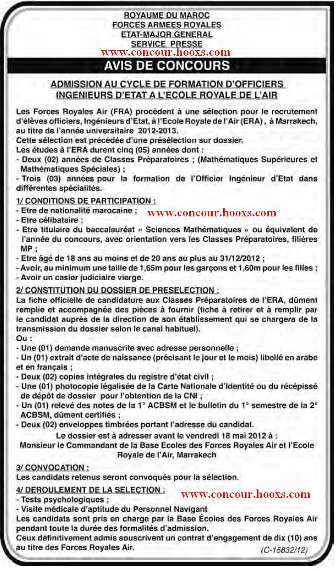 FAR : CONCOURS - ELEVES OFFIC PILOTES & SOUS OFFICIERS SPECIALISTES & SOUS OFFIC FUSILIER COMMANDO & PRE ANNEE DU BAC SCI MATH & INGE D'ETA & LAUREATS DES ISTA AVANT LE 18 MAI 2012 Conco114