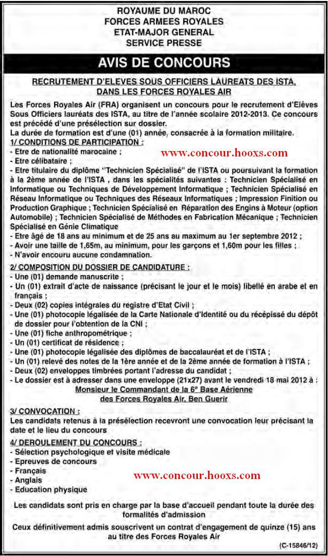 FAR : CONCOURS - ELEVES OFFIC PILOTES & SOUS OFFICIERS SPECIALISTES & SOUS OFFIC FUSILIER COMMANDO & PRE ANNEE DU BAC SCI MATH & INGE D'ETA & LAUREATS DES ISTA AVANT LE 18 MAI 2012 Conco115