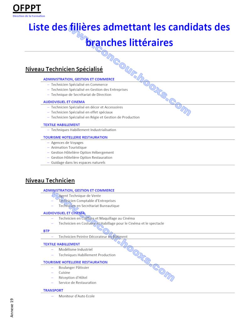 قائمة تخصصات التكوين المهني لمستوى التقني المتخصص و التقني (Ofppt) المقبولة للمترشحين الشعب الأدبية Ofppt-11