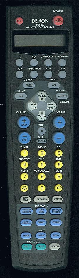Denon RC-883 Remote Rc-88310