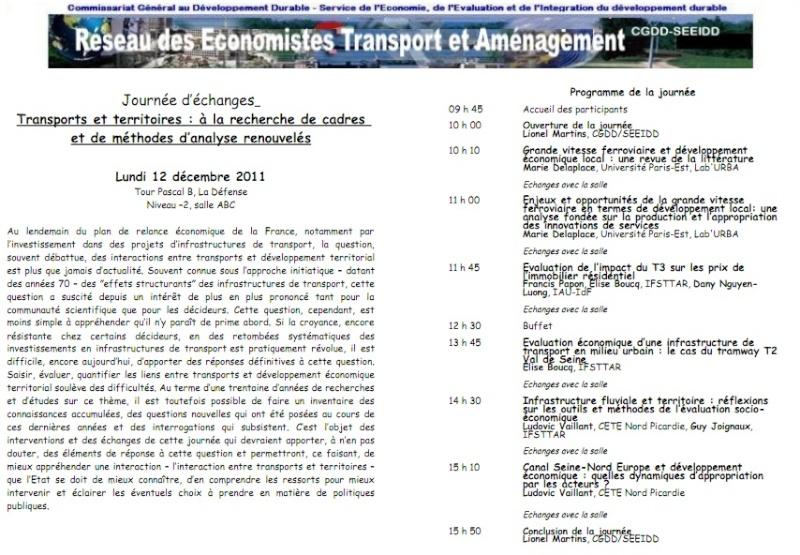 12 Décembre 2012 - PARIS - Transports et territoires : à la recherche de cadres et de méthodes d'analyse renouvelés Conf110