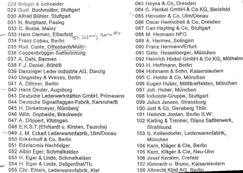 Les étuis de P 08, époque impériale. Liste_11
