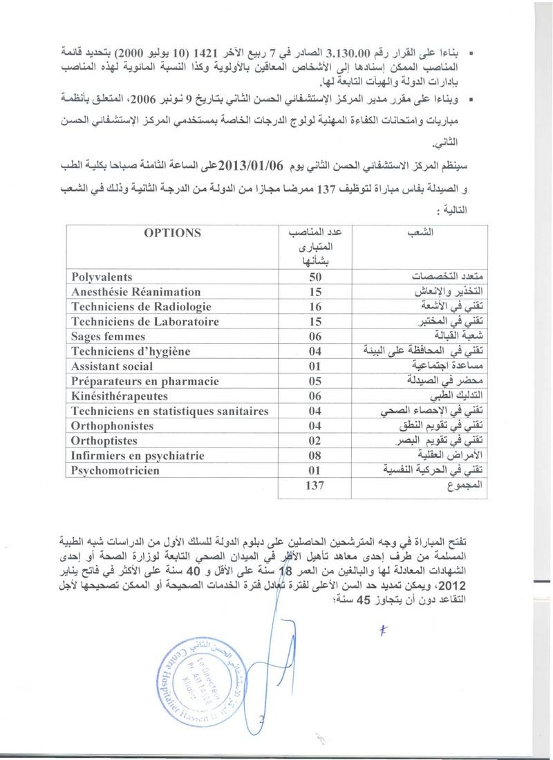 المركز الإستشفائي الحسن الثاني بفاس: مباراة لتوظيف 137 ممرضا مجازا من الدولة من الدرجة الثانية. آخر أجل هو 21 دجنبر 2012  Chuhas11