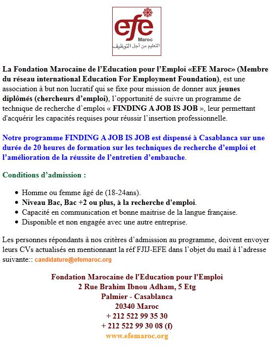 """مؤسسة التكوين من أجل التوظيف المغرب: فرصة لحضور برنامج التدريب و الإدماج """"FINDING A JOB IS JOB"""" Fpr111"""