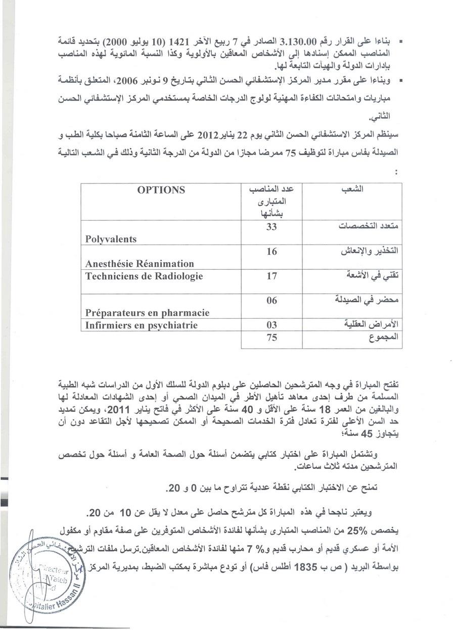 المركز الاستشفائي الحسن الثاني فاس: مباراة لتوظيف 75 ممرض مجاز من الدولة من الدرجة الثانية. آخر أجل هو 16 يناير 2012 Ide2ha10