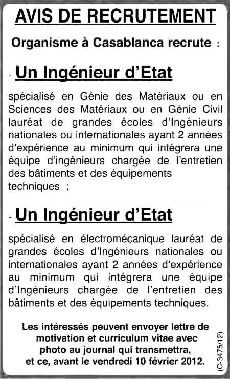 منظمة بالدار البيضاء: توظيف مهندسي دولة تخصص هندسة المواد و الإلكتروميكانيك. آخر أجل هو 10 فبراير 2012 Organi10