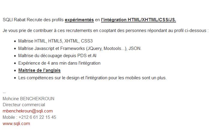 SQLI Rabat recrute des profils expérimentés en l'intégration HTML/XHTML/CSS/JS  Sql10