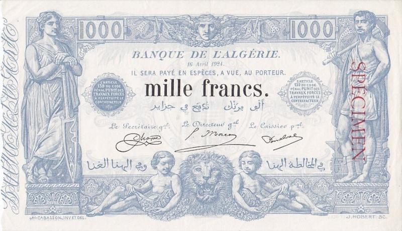 Emissions d'Algérie en billet avant 1962 Algari21
