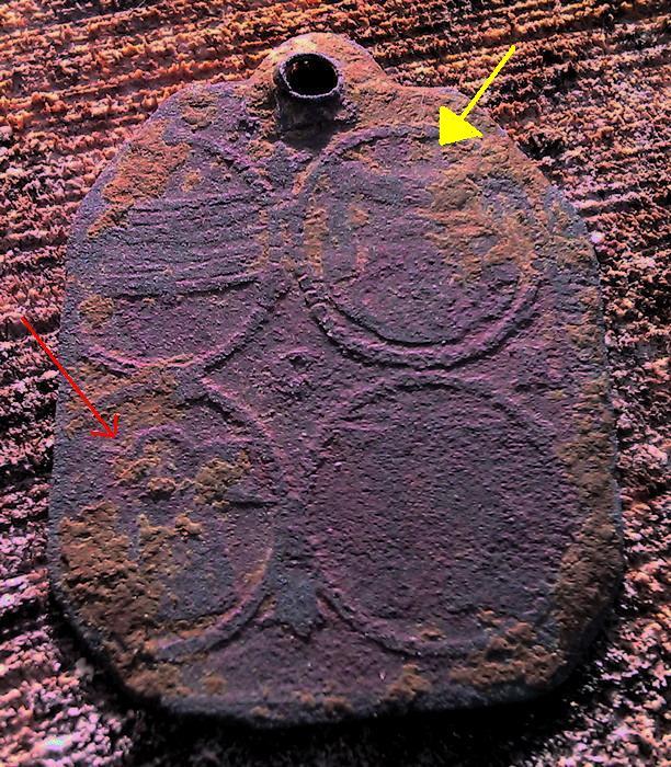 Médaille visiblement ancienne (peut être début du XVIIIème) tôle de cuivre - divers éléments identifiés  19027811