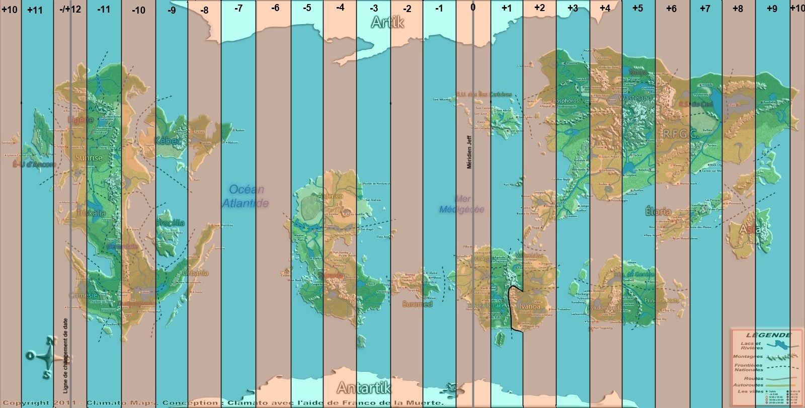 Carte des fuseaux horaires Carteg10