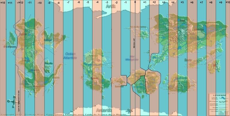 Carte des fuseaux horaires Carteg11