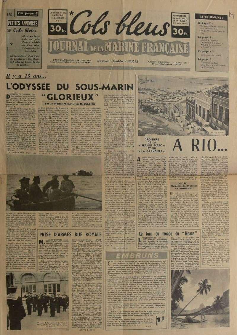 """L'Odyssée du Sous-marin """"LE GLORIEUX"""" (Cols bleus 1957) Articl10"""