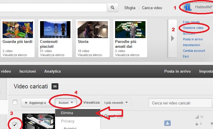 Eliminare Video da YouTube Immag100