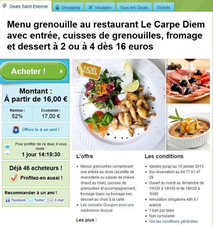 Offre GROUPON Menu pour 16 euros  resto le CARPE DIEM La_car10