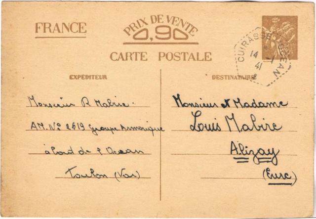 Utilisation des entiers Iris et Pétain et cartes interzones hors de France 1941_c10