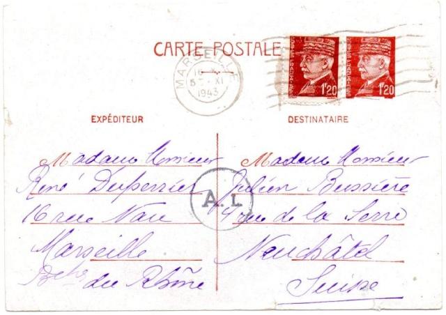 Utilisation des entiers Iris et Pétain et cartes interzones hors de France 1943_c11