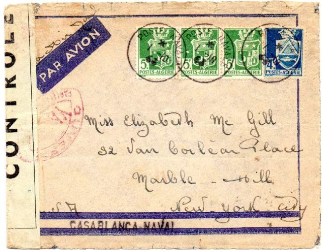 ENVELOPPE POSTE NAVALE RF à CASABLANCA 1944 1944_n10
