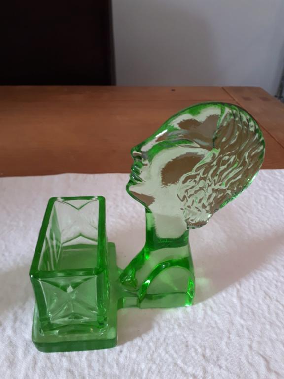 Uranium Glass Figural Match/Toothpick Holder 20180911