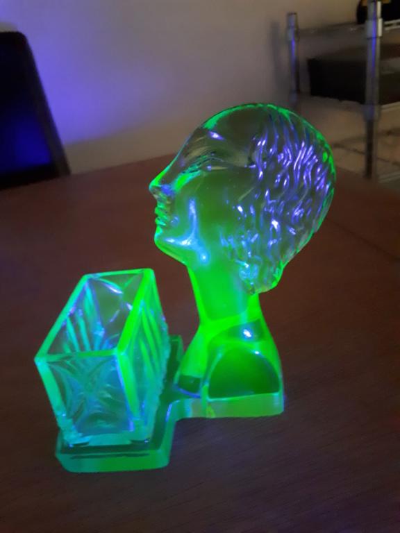 Uranium Glass Figural Match/Toothpick Holder 20180913