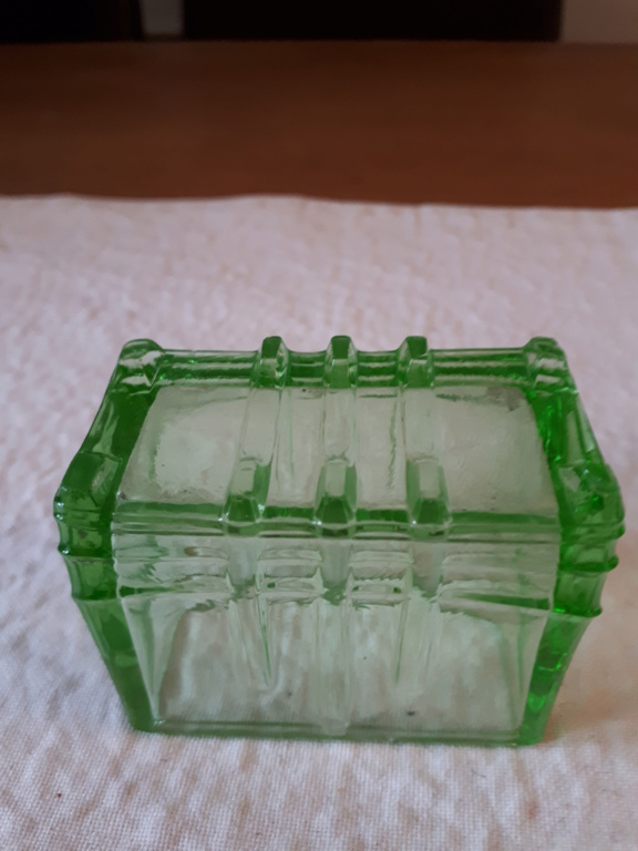 Uranium Glass Figural Match/Toothpick Holder 20180915