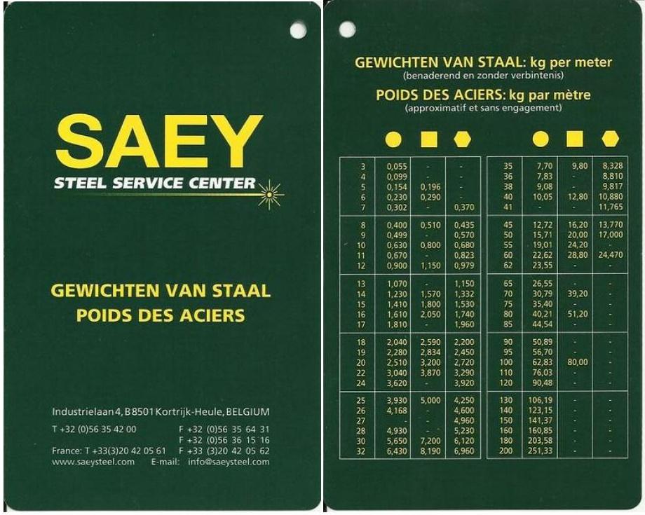 Tableaux de profilés & tubes Acier (dimensions, poids et conditions d'utilisation) A1_bmp10