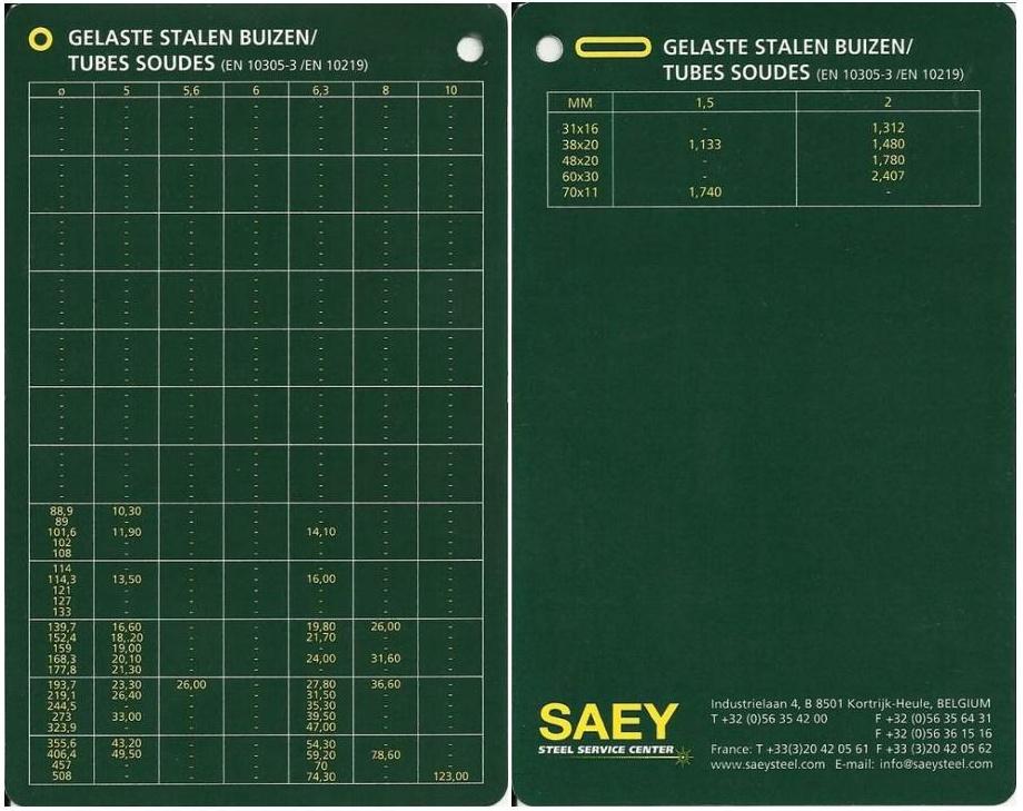 Tableaux de profilés & tubes Acier (dimensions, poids et conditions d'utilisation) A8_bmp10