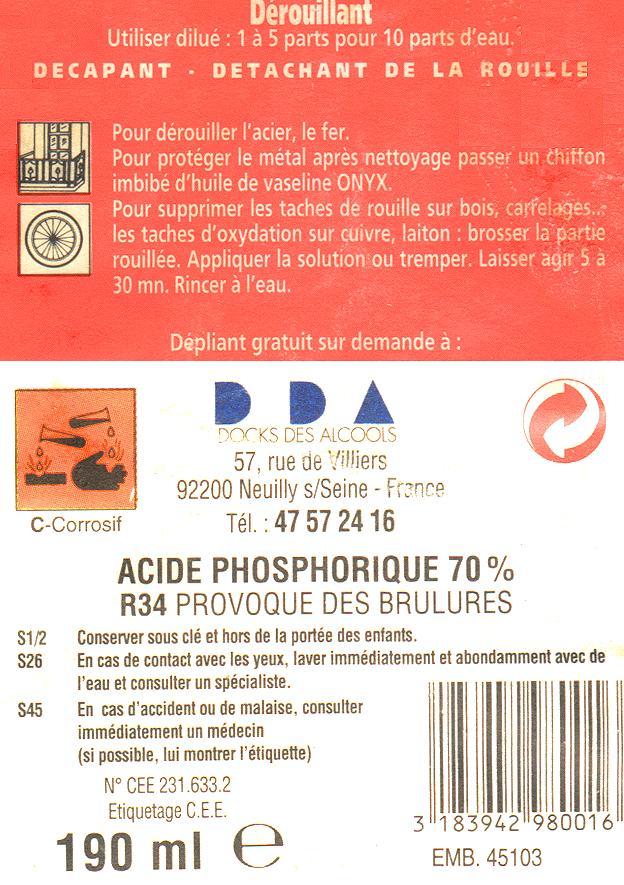 Acide phosphorique, Dérouillant / phosphatant Acide-10