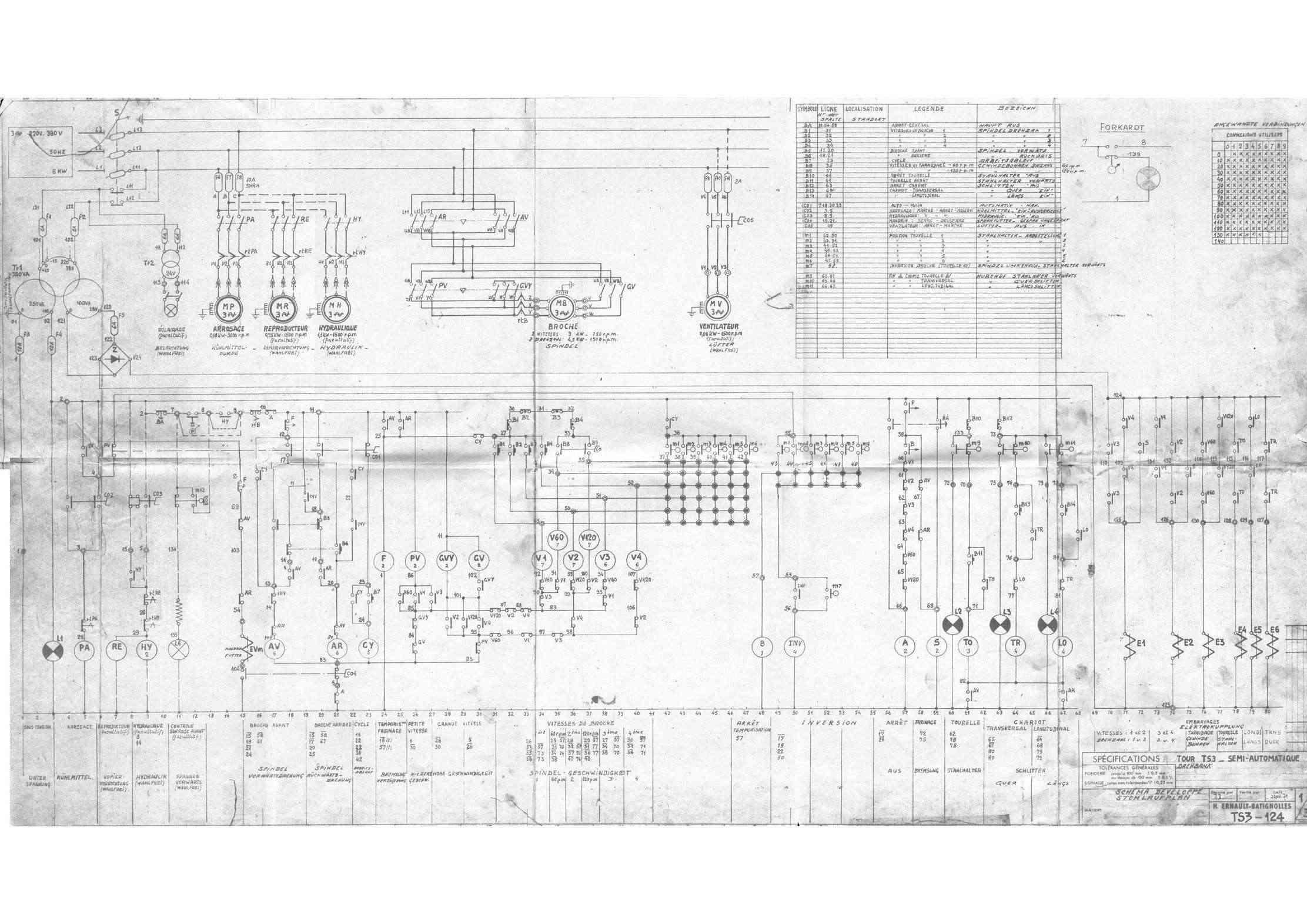 schéma electrique d'un tour TS5 ernault-somua schéma 2 Uw11108