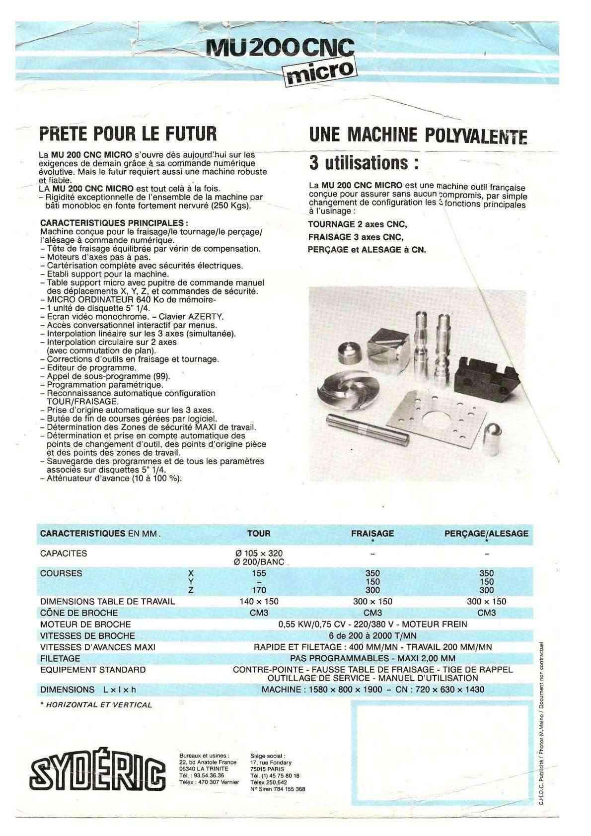 Sydéric MU200 CNC Uw1240