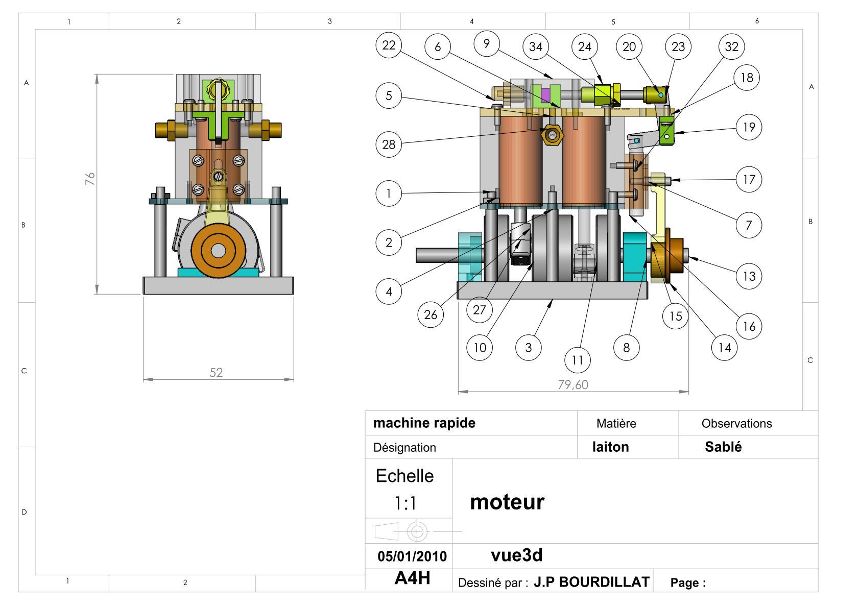 Plan d'un moteur rapide Uw1710